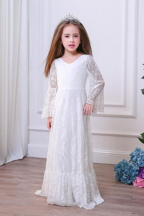Girls Special Occasion Dresses Boho Long Sleeve Lace Sheer V-neck Sheath Flower Girl Dresses For Wedding 2018