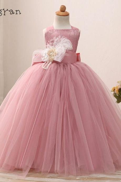 Feather Girl Pageant Dresses Lace Tulle Ball Gowns Girls Special Occasion Dresses Flower Girl Dresses 2018 New Arrival