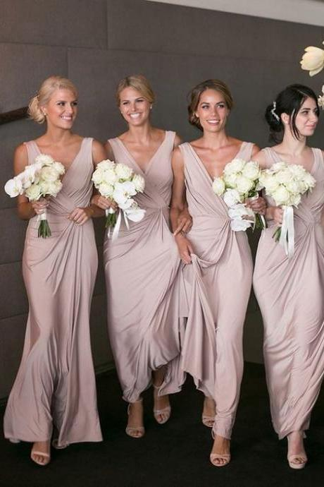 2018 New Wedding Party Dresses For Bridesmaids Sexy V-neck Pleats Long Chiffon Bridesmaid Dresses Cheap Custom Made