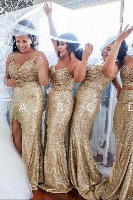 Sexy Side Split Bining Sequined Bridesmaid Dresses Long Backless 2018 Fashion Wedding Dress Party Dresses For Bridesmaid