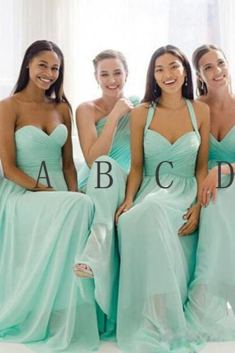 Custom Aqua Blue Cheap Bridesmaids Dresses Long 2018 Pleats Halter Open Back Prom Dresses Long Party Dress For Bride Wedding Dresses