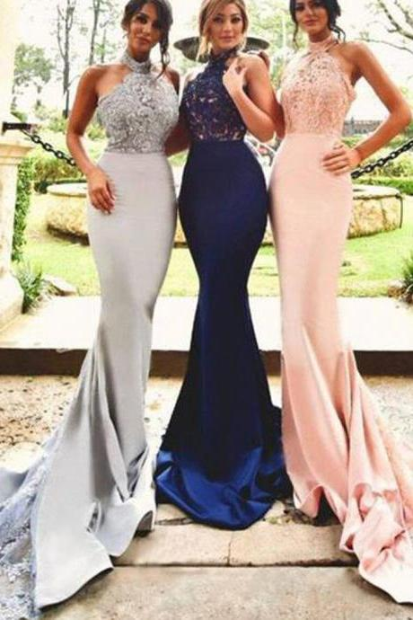 Alluring Mermaid High Neck Bridesmaid Dresses Wedding Gowns 2018 Lace Satin Applique Beads Sequins Backless Prom Dress Party Dresses Evening Gowns