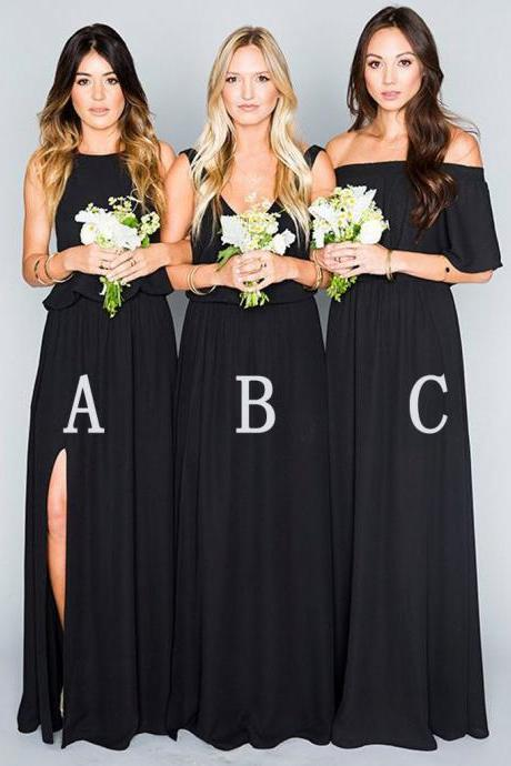 2018 Cheap Bridesmaid Dresses Off The Shoulder Backless Chiffon Long Wedding Dress For Bridesmaids Party Dresses Prom Dress Long