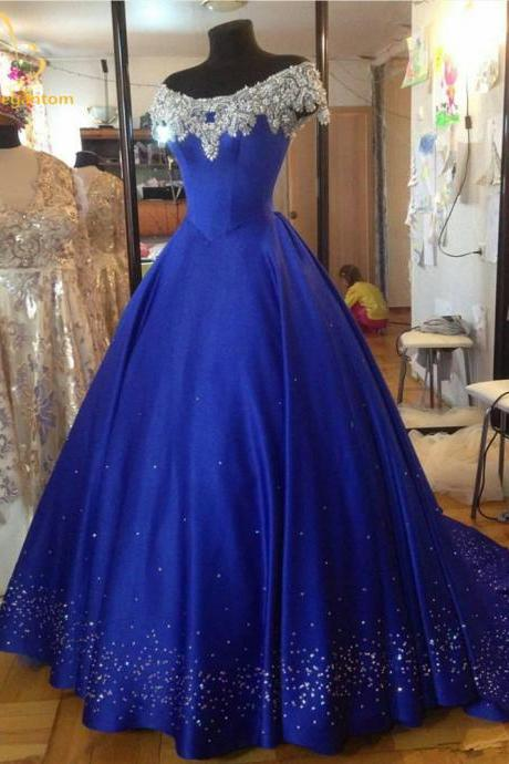 Luxury Prom Dresses Off The Shoulder Crystal Sequins Beaded Open Back Satin Ball Gowns Girls Party Dress Long Ball Gown Evening Dresses 2018