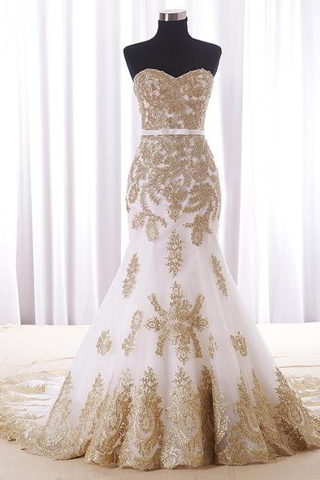 Gold Applique Mermaid Bridal Wedding Dresses 2018 Strapless Open Back Lace-up Court Train Wedding Gowns Custom Made