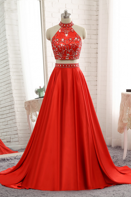 High Neck Two Pieces Prom Dresses Long 2018 Crystal Beading Sequins Open Back Evening Gowns Special Occasion Dresses Girls
