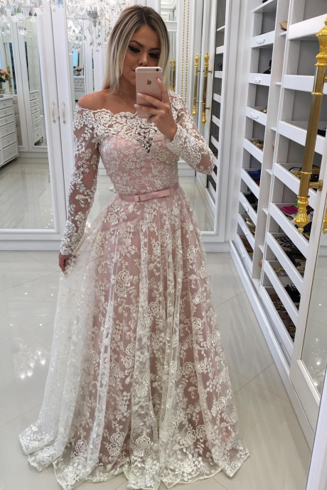 Sheer Long Sleeve Off Shoulder Prom Gowns Evening Dresses 2018 Lace Ribbon Bow Wedding Dress Bridal Party Dress For Bride
