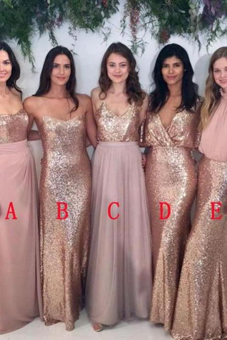 2018 Cheap Bridesmaids Dresses Long Sequined Chiffon V-neck Open Back Wedding Dresses Party Dress Prom Gowns