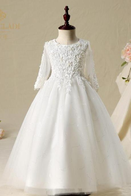 White Lace Flower Girls Dresses For Wedding Party Long Sleeves A line Tulle Jewel Neck First Communion Dress Princess Designer 2018 Cheap