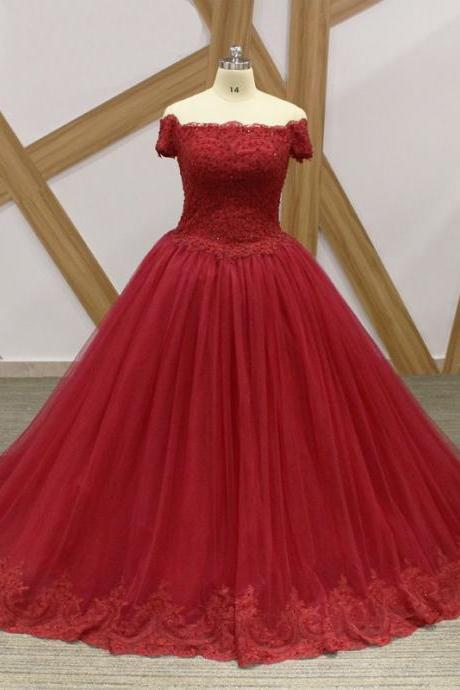 Wine red Ball Gown Evening Dresses Off the shoulder with Short Sleeves Lace Tulle Corset Back Wedding Party Prom Formal Dresses Cheap Long 2018