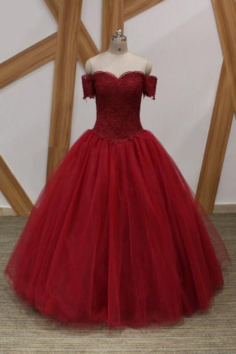 Burgundy Off the Shoulder With Sleeves Prom Dress Ball Gown Cheap 2018 Floor length Applique Lace up Back Quinceanera Evening Formal Dress Gowns