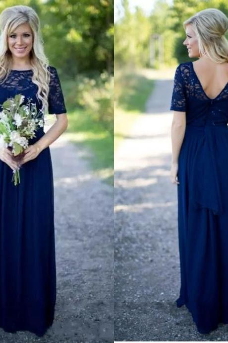 Vintage Cheap Chiffon Long Bridesmaid Dress 2018 Navy Illusion Short Sleeves Lace Sequined Floor length Empire Garden Country Stylish Prom Evening Party Dresses