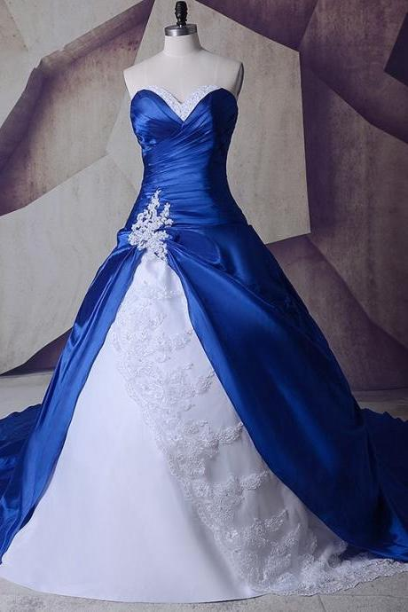 2018 Royal Blue White Sweetheart Wedding Dress A line Lace Applique Pleated Court Train Cheap Wedding Bridal Dresses Gowns
