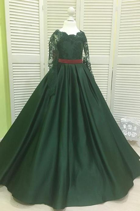 Dark Green Flower Girls Pageant Dresses For Children 2018 Long Sleeves Lace Cheap Jewel Neck A line Satin First Communion Dress Wedding Dresses
