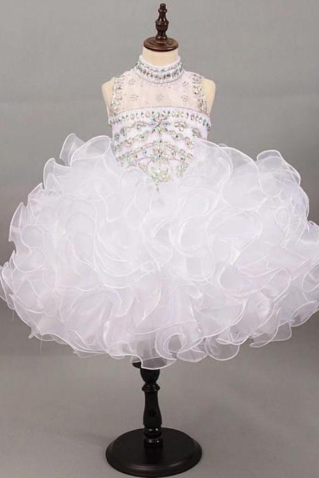 Sparkly White Girls Pageant Formal Dresses Ball Gowns Ruffles Short High Neck Sheer Stylish Crystal Rhinestones Organza Prom Dress For Girls First Communion Dress