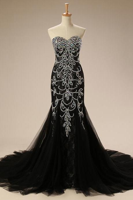 Sexy Black Lace Mermaid Prom Pageant Dresses Sweetheart Rhinestones Beaded Tulle Floor length Cheap Evening Formal Dress Gowns 2018