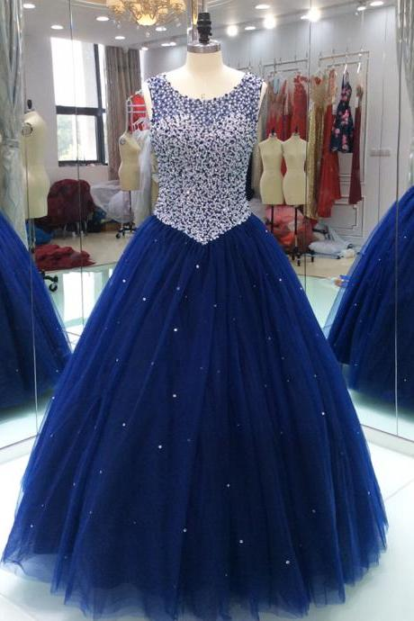 Royal Blue Sheer Neck Prom Quinceanera Dress With Keyhole Back Pearls Beaded Sequins Tulle Ball Gowns For Girls Women Evening Formal Gowns