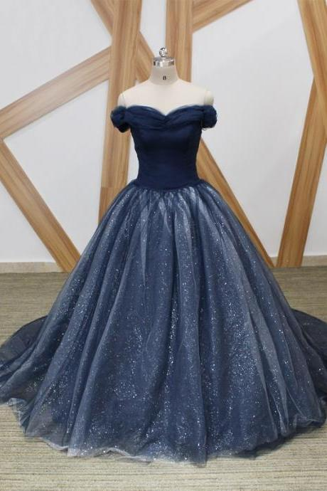 Romantic Navy Off the shoulder Ball Gown Prom Dress Cheap 2018 With Sleeves Tulle Sequined Fabric Corset Back Pleated Evening Formal Gowns