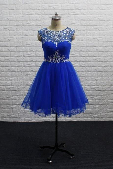 2018 Short Homecoming Dress Royal Blue Bateau Sheer Neck With Cap Short Sleeve Hollow Back Mini Short Prom Evening Cocktail Formal Dress Cheap Beaded Crystal