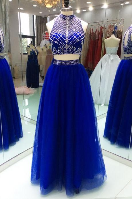 Modest Royal Blue Prom Dress 2018 New 2 Pieces Tulle High Neck Keyhole Back With Blingbling Crystal Beaded Long Cheap Evening Formal Dress