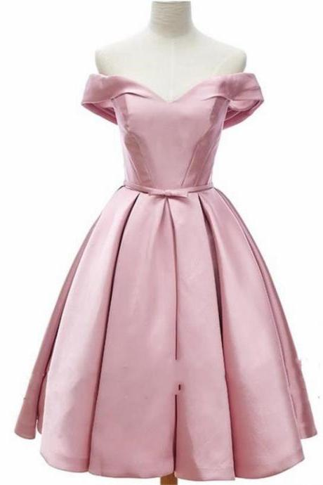 Pink V neck Short Homecoming Prom dress Satin Simple Cheap Designer Ribbon With Bows 2018 Graduation Evening Dresses