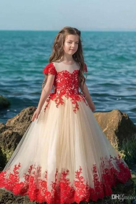 Red Lace Flower Girl Dresses For Wedding Short Sleeve Jewel Tulle Sweep Train First Communion Dress Girls Special Occasion Dress