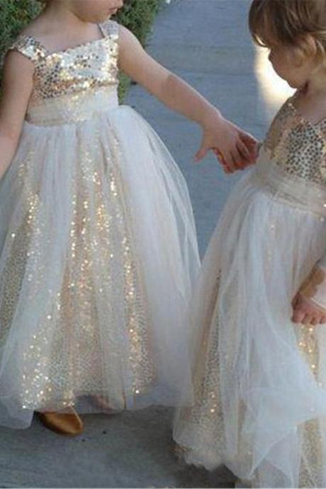 Gold Sequined First Communion Dresses Toddlers Spaghetti Backless Tulle Pleats Flower Girl Dresses Kids