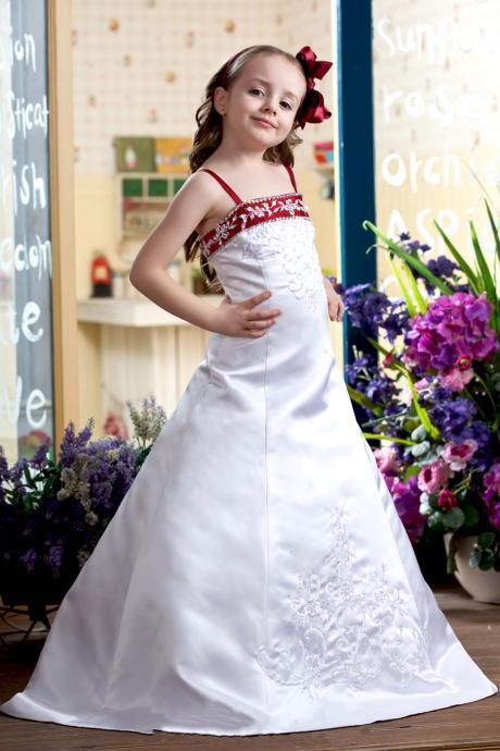 Embroidered Beaded Flower Girls Dresses For Wedding Spaghetti Buttoned Zipper Girls Special Occasion Dresses Kid And Toddler