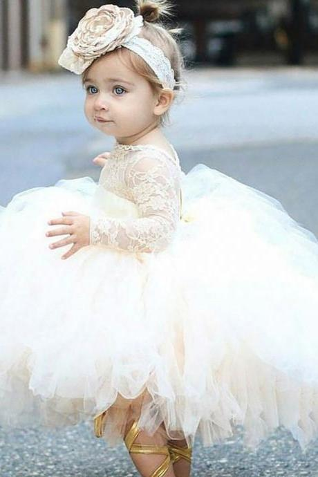 Sheer Long Sleeve Ruffles First Communion Dresses Baby Girl Jewel Ball Gowns Tulle Flower Girl Dresses Party Dresses Kids