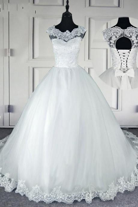Lace Beaded Wedding Dresses Bridal Party Dresses
