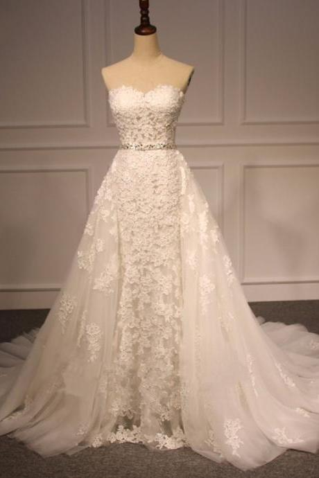 Detachable Train Strapless Wedding Dresses,Lace Bridal Dresses,Wedding Gowns