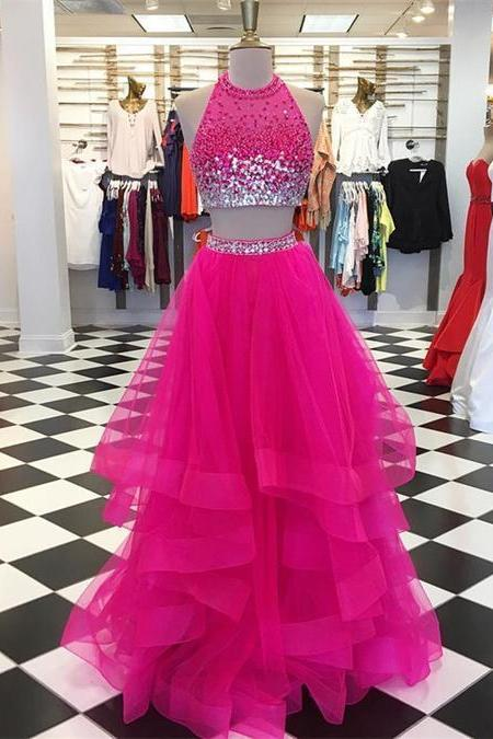 Two Pieces Prom Dresses, Ruffles Quinceanera Dresses,Ball Gowns Tulle ,Crystal Beaded Graduation Dresses
