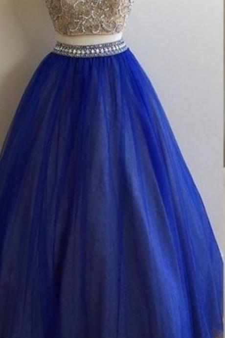 Two Piece Prom Dresses,High Neck Crystal Beads Party Dresses,Royal Blue Prom Gowns, Special Occasion Dresses