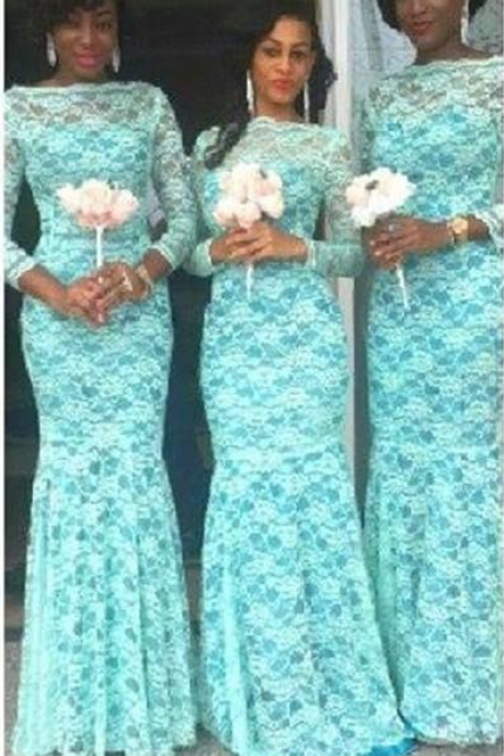 Illusion Long Sleeve Bridesmaid Dresses,Lace Wedding Party Dresses,Prom Dresses.Evening Dresses For Weddings