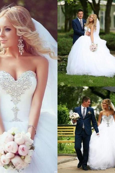 Crystal Beaded Wedding Dresses Ball Gowns,Bridal Dress,Strapless Lace-up Wedding Gowns