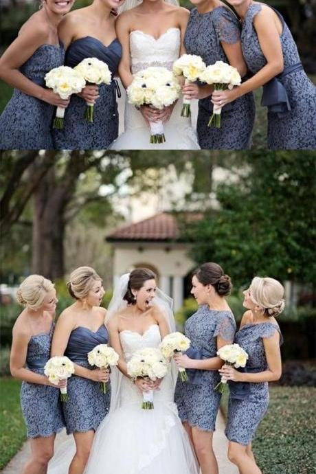 Silver Lace Bridesmaid Dresses,Short Bridesmaid Dresses,Custom Made Bridesmaids Dresses