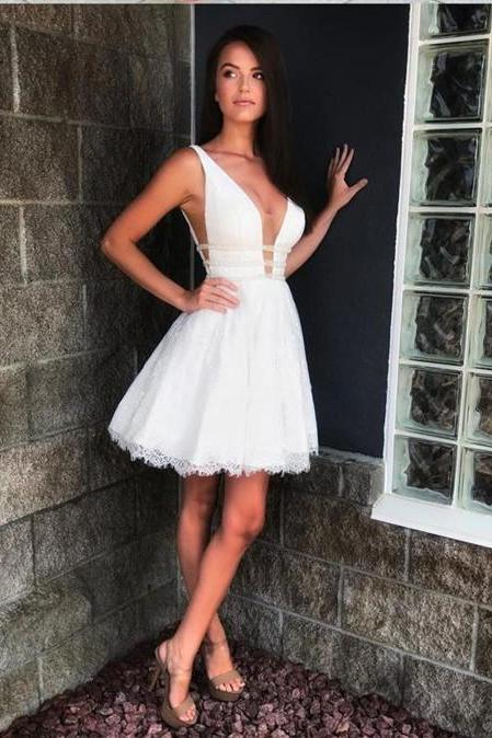 Lace Short Prom Dresses,Cap Sleeve Homecoming Dresses,V-neck Homecoming Dress,Beaded Homecoming Dress