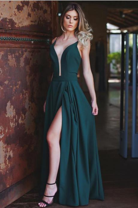 Green Prom Dress ,Side Split Prom Dresses,V-neck Prom Dresses,Backless Prom Gowns, Party Evening Dress