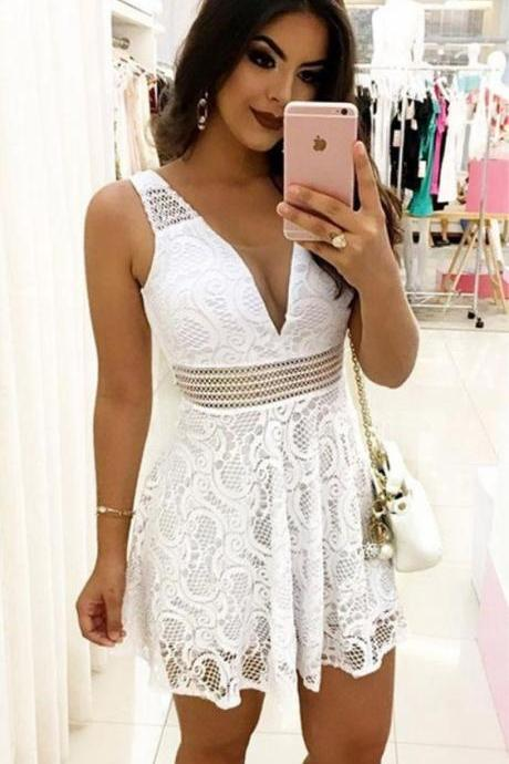 White Lace Dresses,Mini Dresses Girls,V-neck Homecoming Dresses,Homecoming Dresses Cap Sleeve ,Short Party Dress,Short Prom Dress