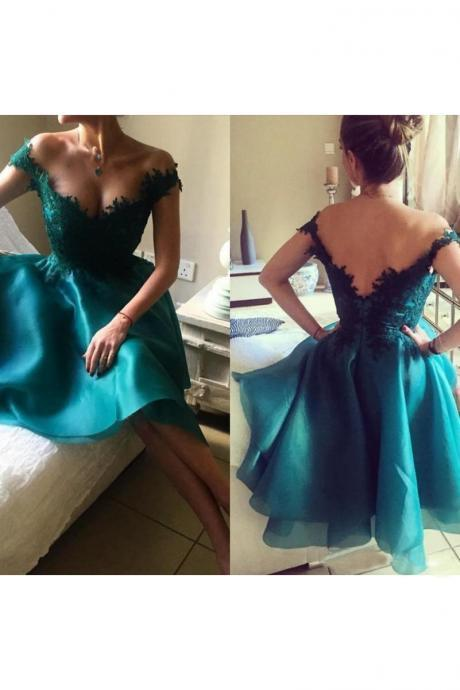 Off The Shoulder Homecoming Dresses Cheap,Lace Applique Homecoming Dress,A-line Homecoming Dress,Backless Short Prom Dress