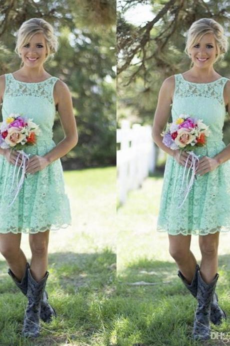 Mint Green Bridesmaid Dresses Short,Lace Bridesmaid Dresses,Jewel Bridesmaid Dress,Cheap Bridal Party Dresses