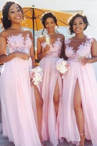 30d Chiffon Bridesmaid Dresses,Applique Bridesmaid Dress,Jewel Sheer Neckline Prom Dresses,Side Split Party Dresses