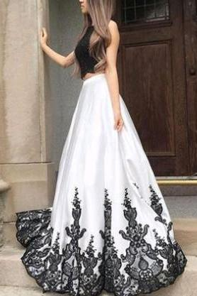 Black And White Prom Dresses,Two Piece Prom Dress,Applique Lace Prom Gowns,A-line Evening Dresses