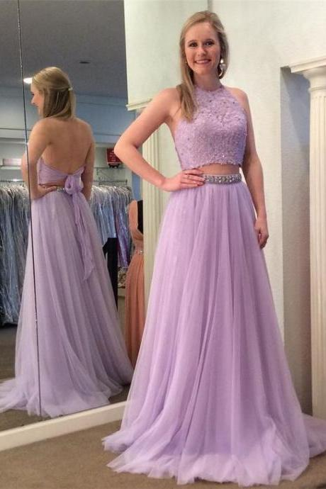 High Neck Prom Dresses,2 Pieces Prom Dress,Lace Tulle Prom Dresses,Beaded Evening Party Dress,A-line Evening Gowns