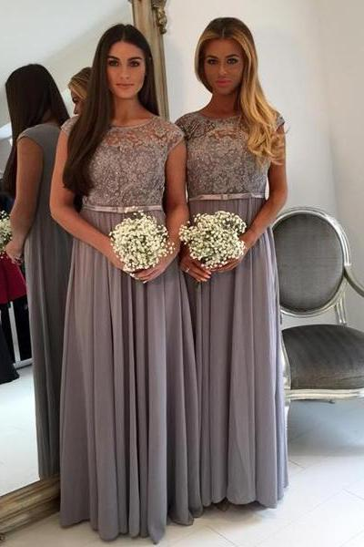 Silver Bridesmaid Dresses,Cap Sleeve Bridesmaid Dress Long,Beaded Lace Country Bridesmaid Dresses