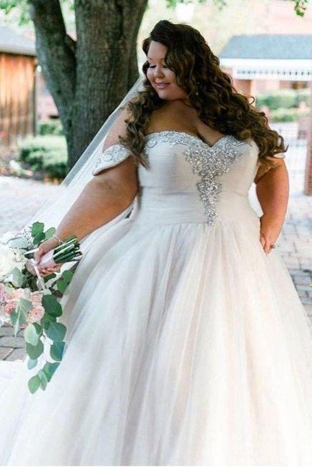 Plus Size Wedding Dresses,Off The Shoulder Wedding Dress,Crystal Beads Wedding Gowns,Custom Made Bridal Dress