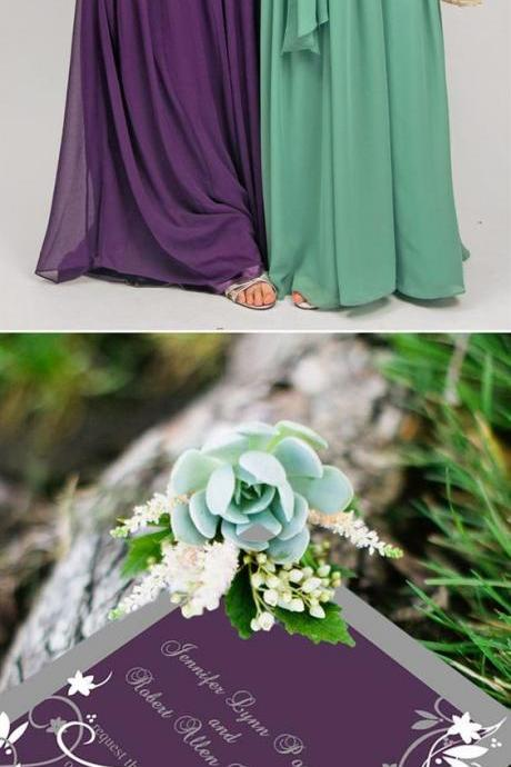 One Shoulder Bridesmaid Dresses,Pleats Bridesmaids Dress,Chiffon Bridesmaid Dress