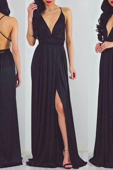 Sexy V-neck Evening Dresses,Simple Chiffon Evening Dress Long ,Criss Cross Strap Evening Prom Dresses,Custom Made Prom Dress