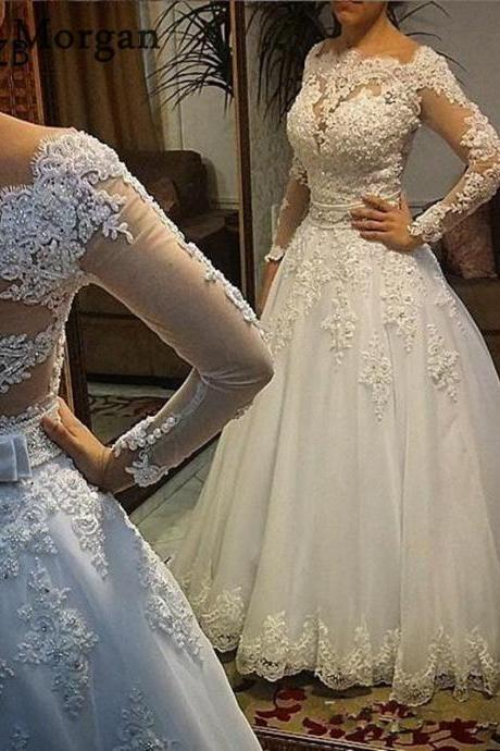 Illusion Long Sleeve Wedding Dresses,Lace Wedding Dresses,Pearls Beaded Sequins Wedding Gowns,A-line Bridal Dresses