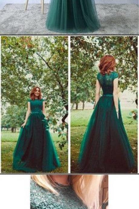 Cap Sleeve Jewel Formal Dresses,Dark Green Evening Prom Dresses,A-line Prom Dress,Lace Tulle Party Dress